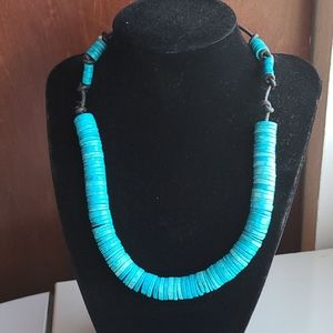 Vintage 80's Turquoise Greenwood Bead Necklace